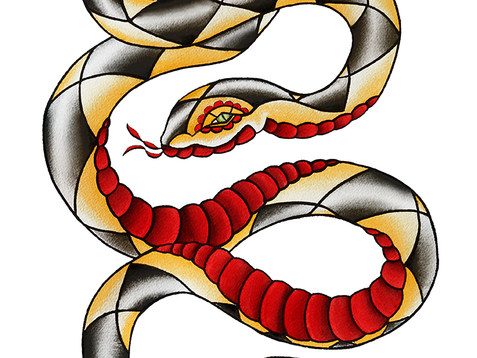 Snake Tattoo Watercolor