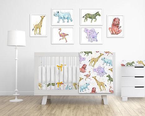 9 Piece Animal  Nursery Set
