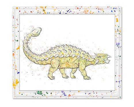Watercolor Ankylosaurus by Jordan Ellis