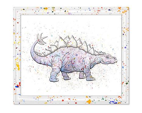 Watercolor Stegosaurus by Jordan Ellis