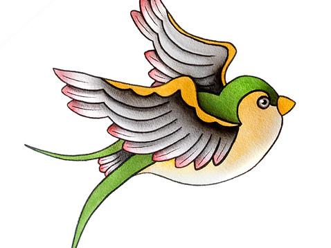 Swallow Tattoo Watercolor
