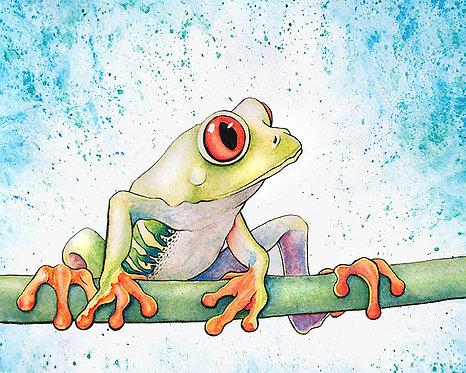 Watercolor Tree Frog by Jordan Ellis