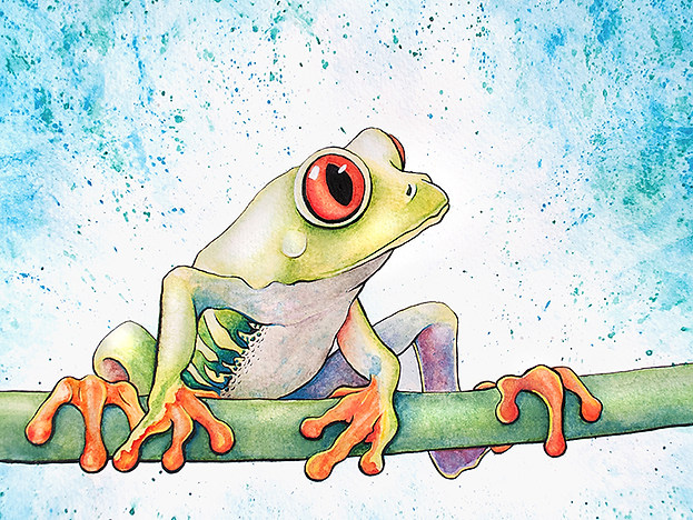 Frog Watercolor Painting