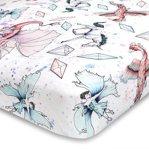 Unicorn and Dragon Jersey Knit Cotton Crib Sheet