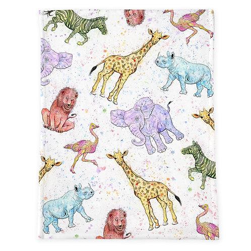 Watercolor Animal Minky Baby Blanket