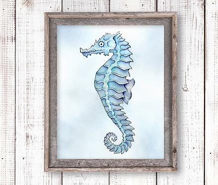 Seahorse Watercolor Print