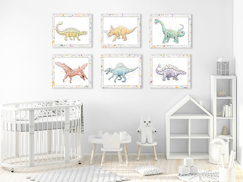 Watercolor Dinosaur Print Collection