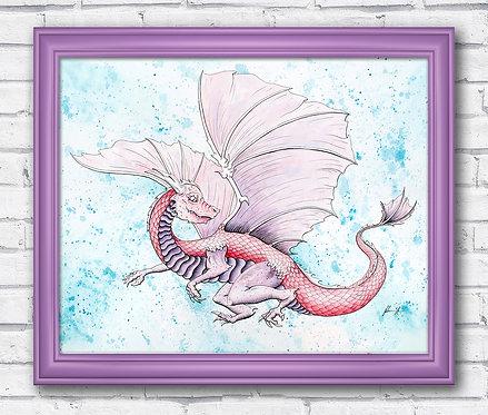 Dragon Watercolor Fantasy Print