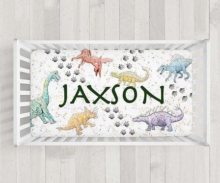 Custom Dinosaur Crib Sheet