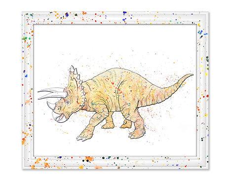 Watercolor Triceratops by Jordan Ellis