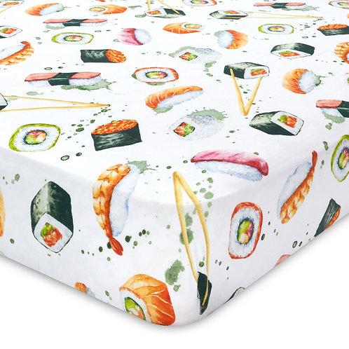 Watercolor Sushi Jersey Knit Cotton Crib Sheet