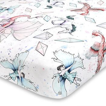 Fantasy Unicorn and Dragon Crib Sheet