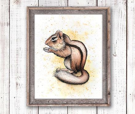 Chipmonk Watercolor Print