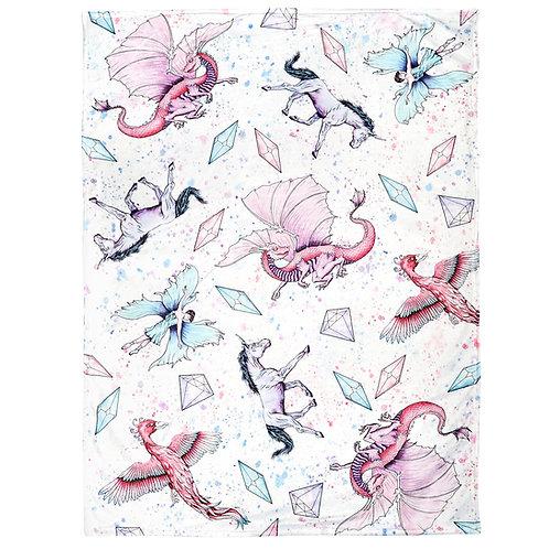 Fantasy Theme Baby Blanket | Unicorn Dragon Fairy Phoenix