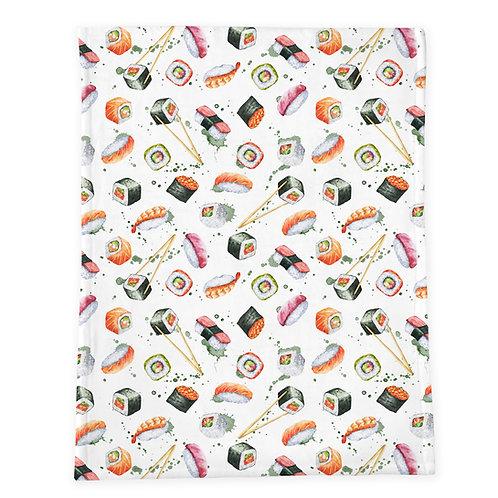 Watercolor Sushi Minky Baby Blanket