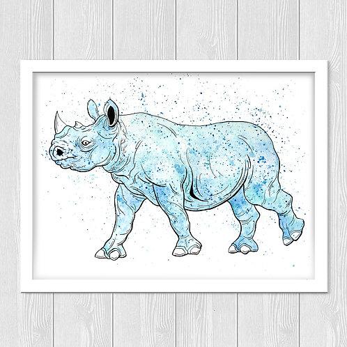 Rhino Watercolor Print