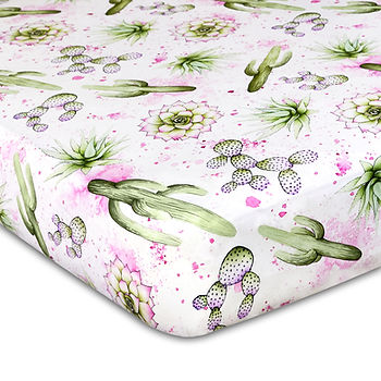 Watercolor Cactus Crib Sheet