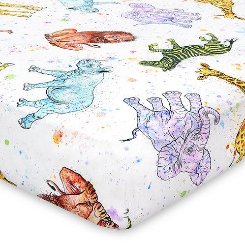 Watercolor Animal Jersey Knit Cotton Crib Sheet