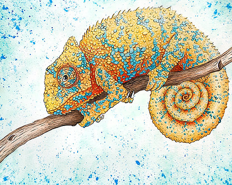 Watercolor Chameleon by Jordan Ellis