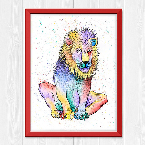 Colorful Lion Watercolor Print