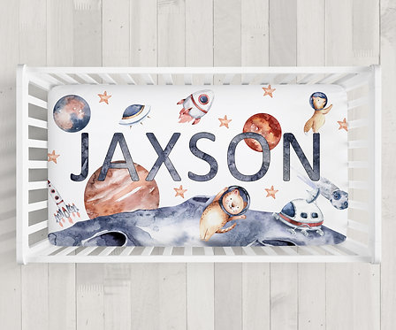 Custom Watercolor Outer Space Crib Sheet