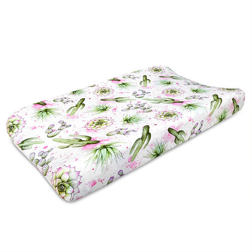 Watercolor Cactus Jersey Knit Cotton Changing Pad Cover