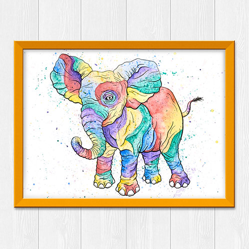 Colorful Elephant Watercolor Print
