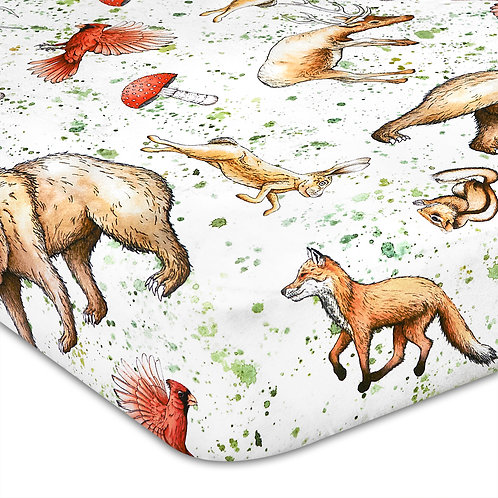 Watercolor Woodland Jersey Knit Cotton Crib Sheet
