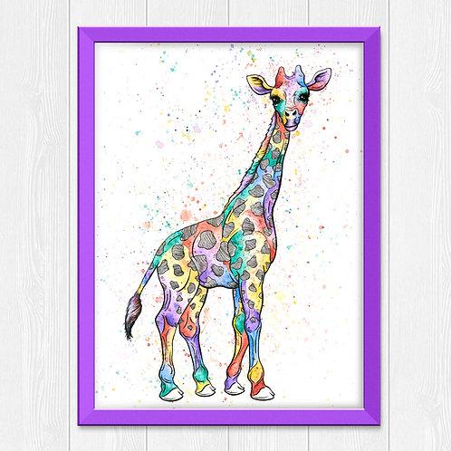 Colorful Giraffe Watercolor Print