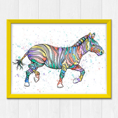 Colorful Zebra Watercolor Print
