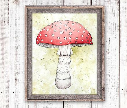 Toadstool Mushroom Watercolor Print
