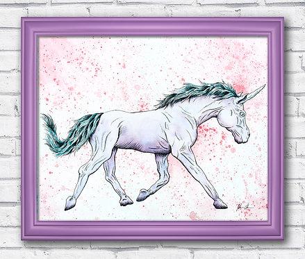 Unicorn Watercolor Fantasy Print