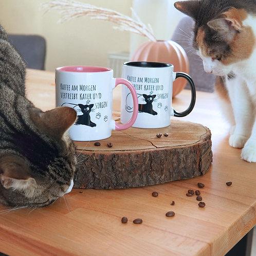 """""""Kaffe am Morgen"""" personalisierbare Tasse, pawsonwood, Katzentasse"""