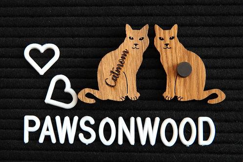 Catmom Magnet, Holz Magnet, Holzmagnet, Katzenmagnet, Magnet Katze, pawsonwood