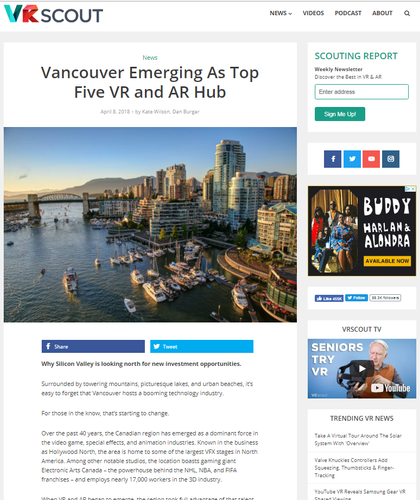 Vancouver emerging as top five VR and AR hub