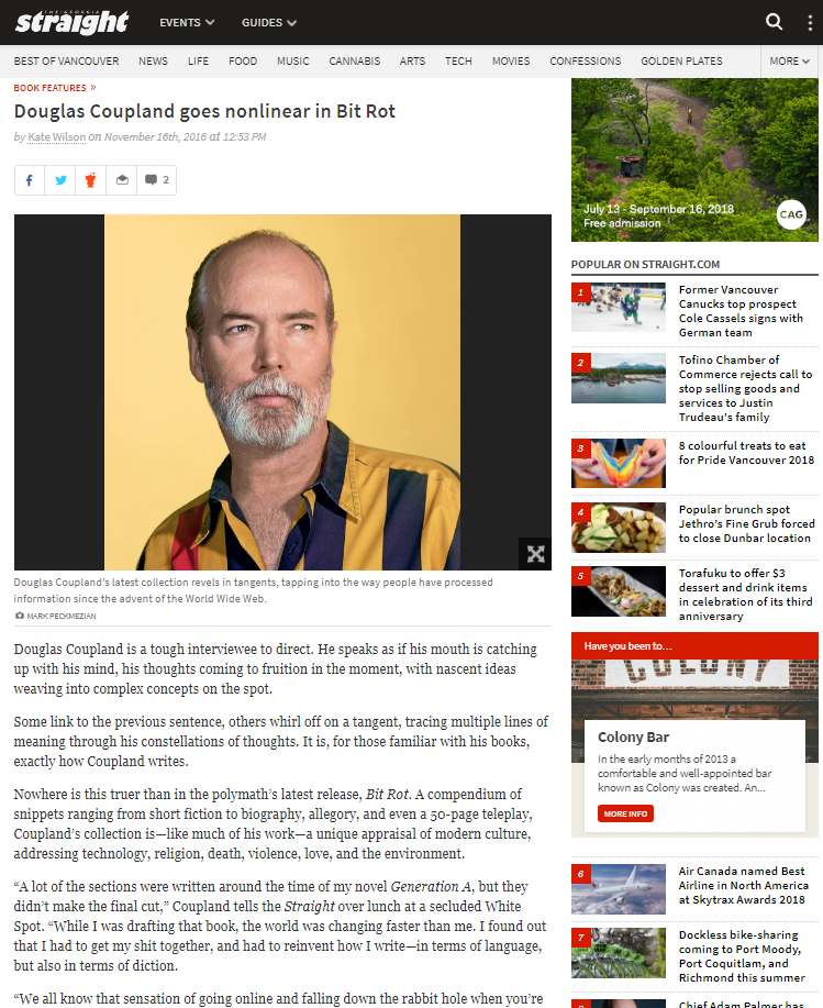 Douglas Coupland goes nonlinear in Bit Rot