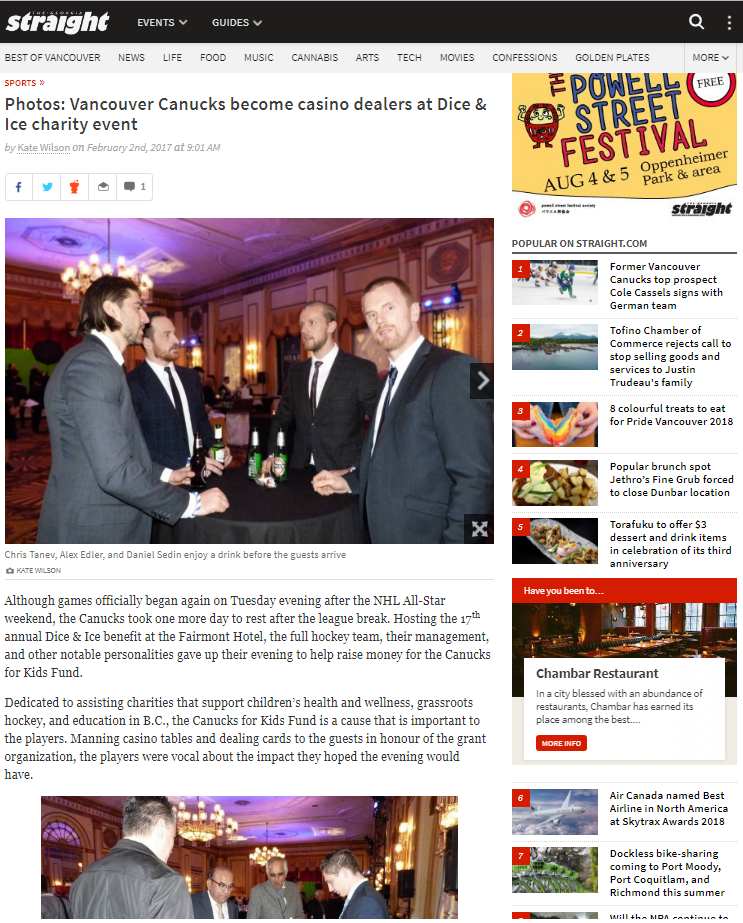 Vancouver Canucks become casino dealers at Dice & Ice charity event