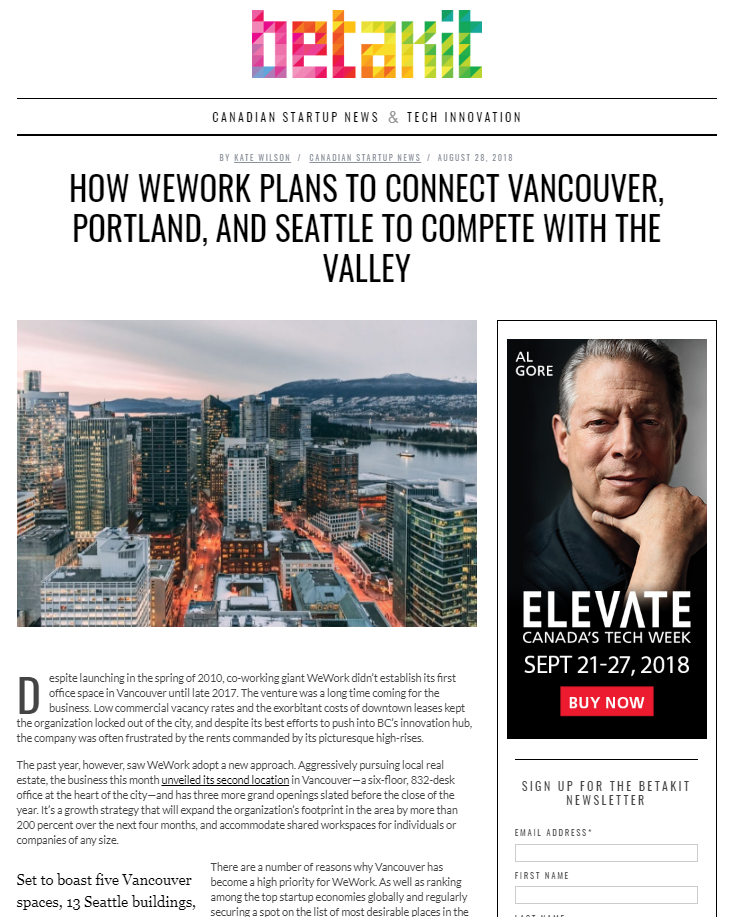 How WeWork plans to connect Vancouver, Portland, and Seattle to compete with the Valley