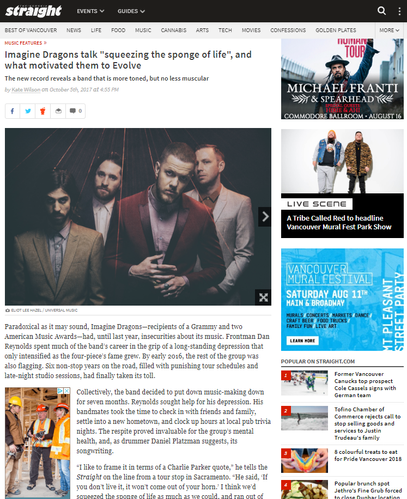 """Imagine Dragons talk """"squeezing the sponge of life"""", and what motivated them to Evolve"""