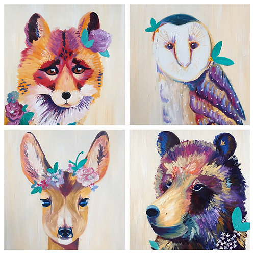 Forest Foursome Prints, Set of 4