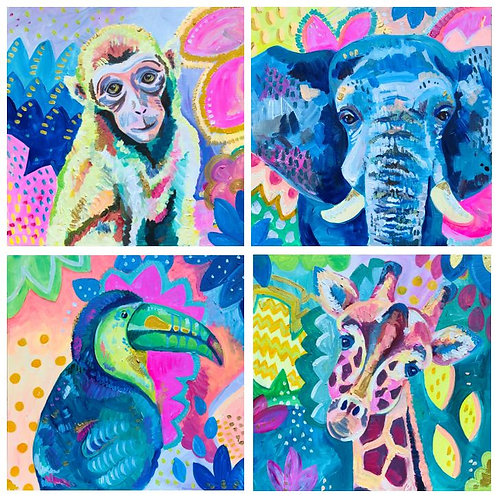 Jungle Foursome Prints, Set of 4