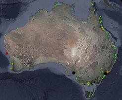 AUSMAP Microplastic Sample locations Aus