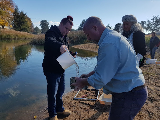 Adding water helps move sediments through the sieve leaving microplastics behind