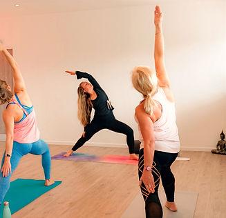 Yoga teacher showing yoga pose