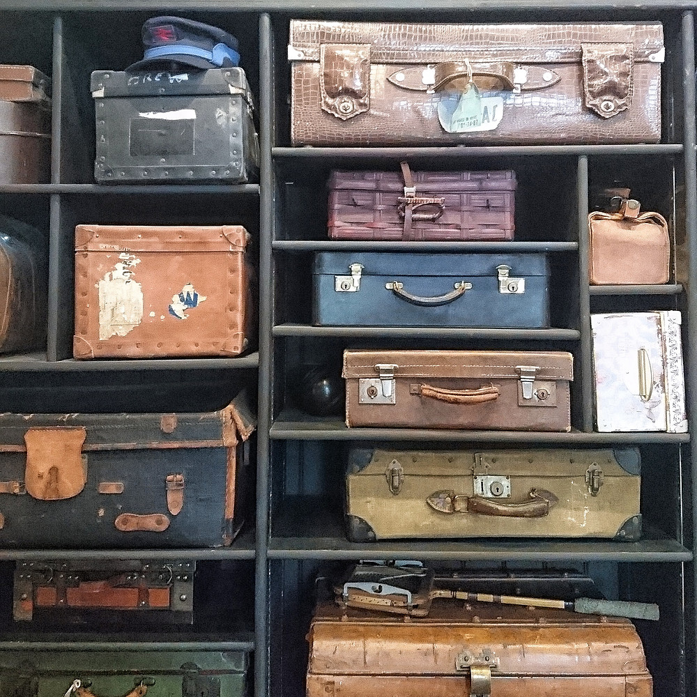 The suitcases on display at Irlam Station