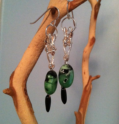 Scorpian Earrings with Moss Agate Beads