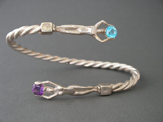 Queen Braclete with Blue Topaz and Purple Amethyst