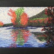 Abbott Lake - Thread Painting - 5 x 7 -C
