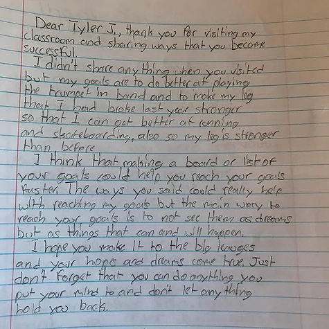 letter to player from student following