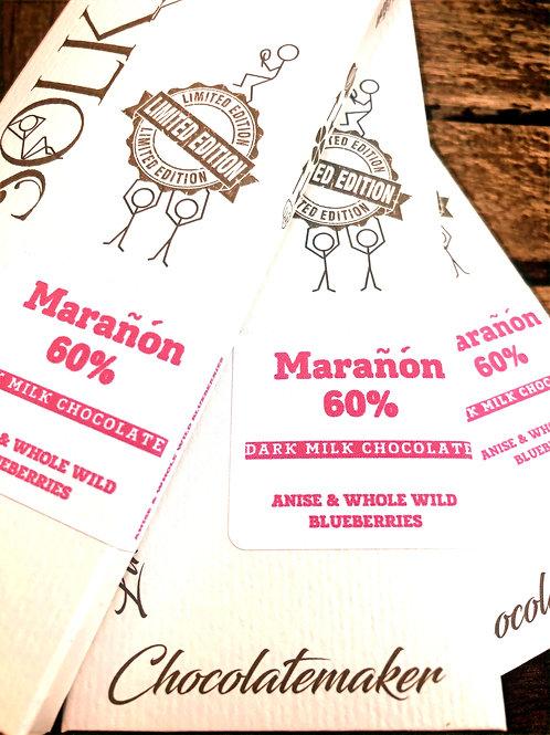 60% Peru, Marañón - Anise & Whole Wild Blueberry - Coconut Dark Milk